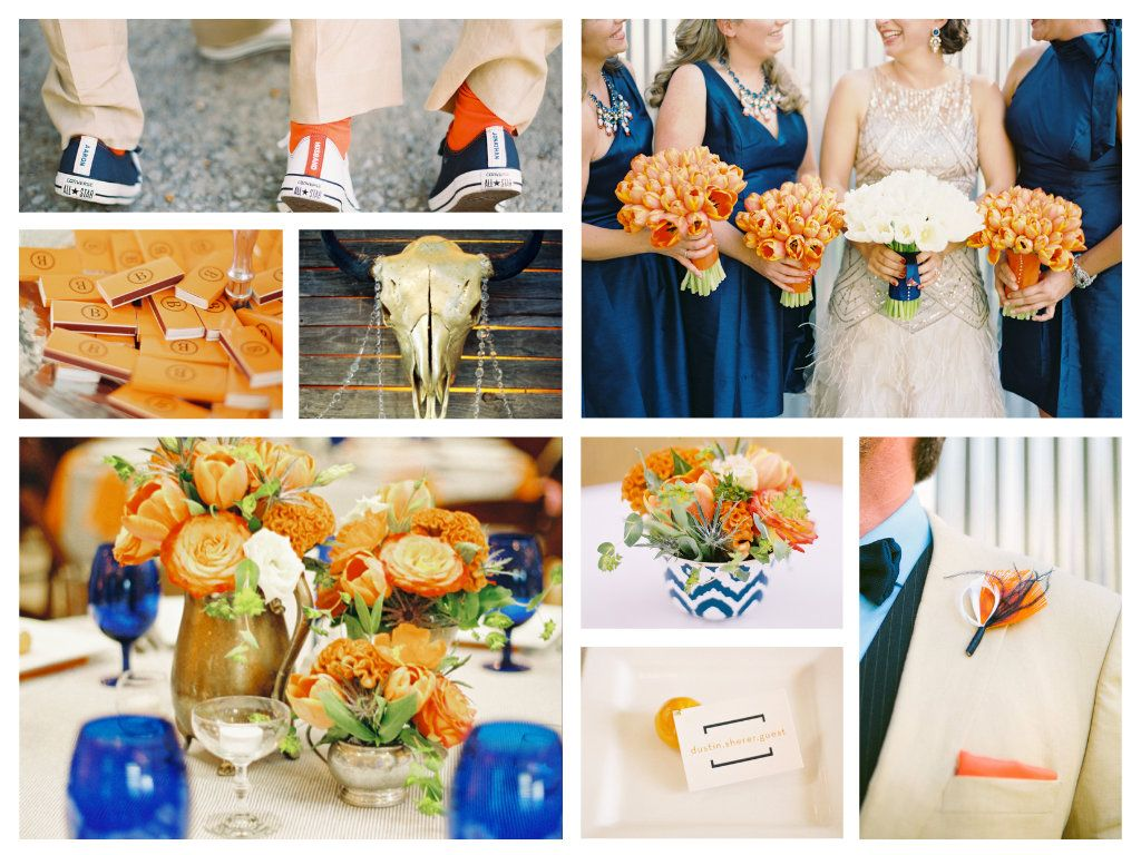 Orange and navy blue wedding Tina Baggett event planner in Bay Area, CA