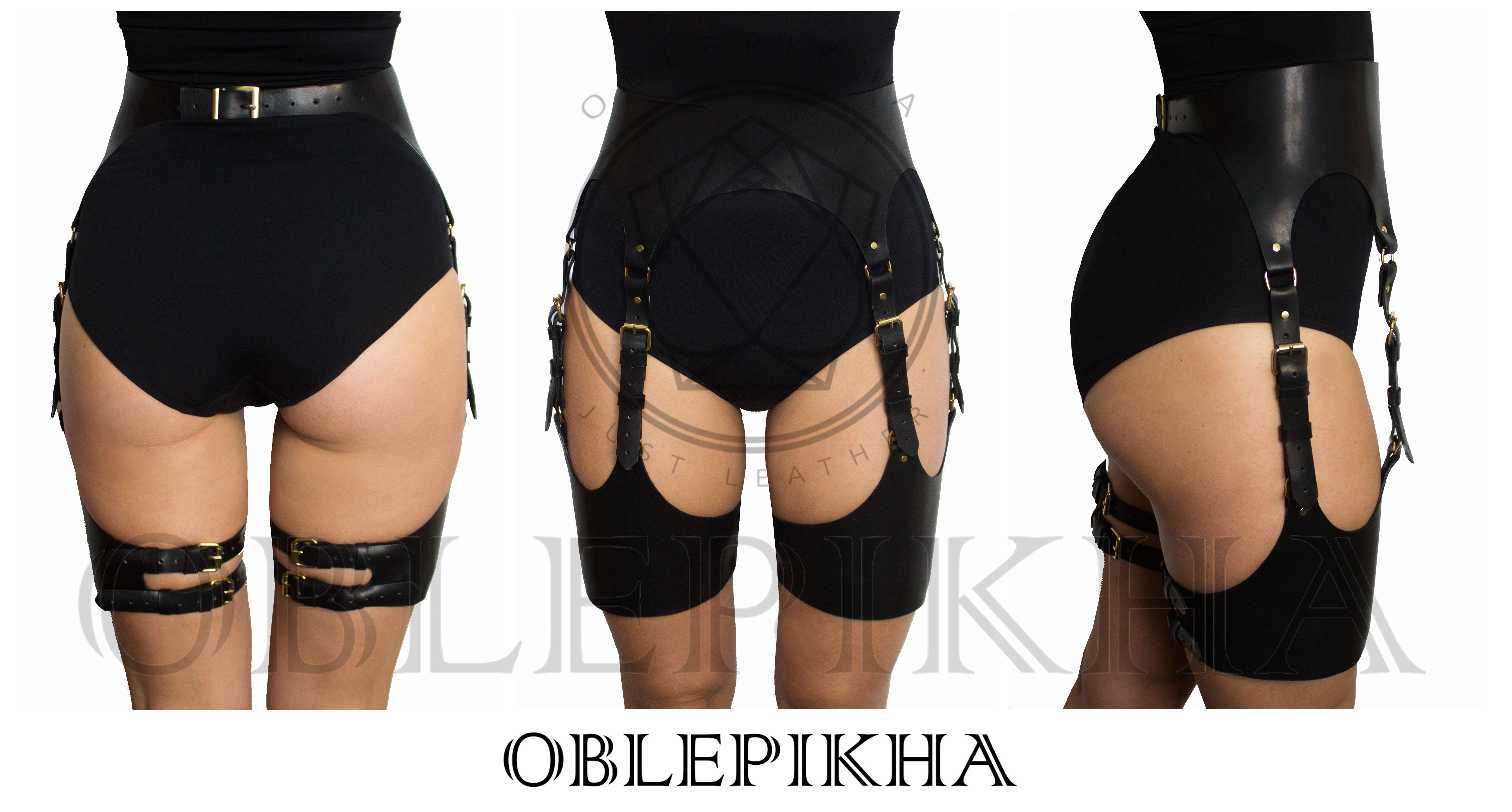 Leather harness Garter Belt