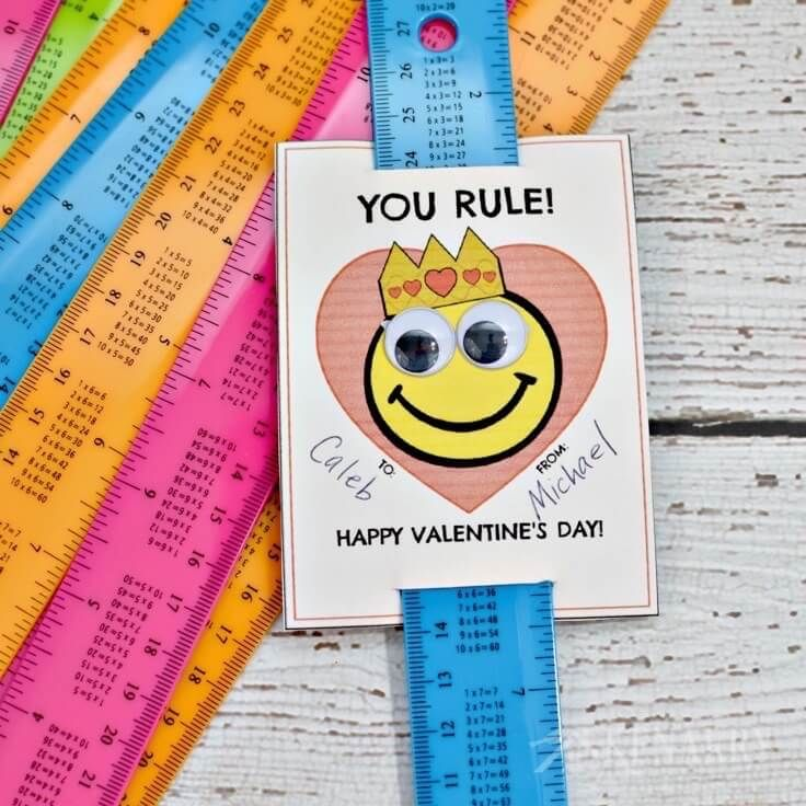 Free Printable Valentine\'s Day Card for Kids Using Rulers | Over the ...