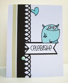 Happy birthday monster card with paper smooches
