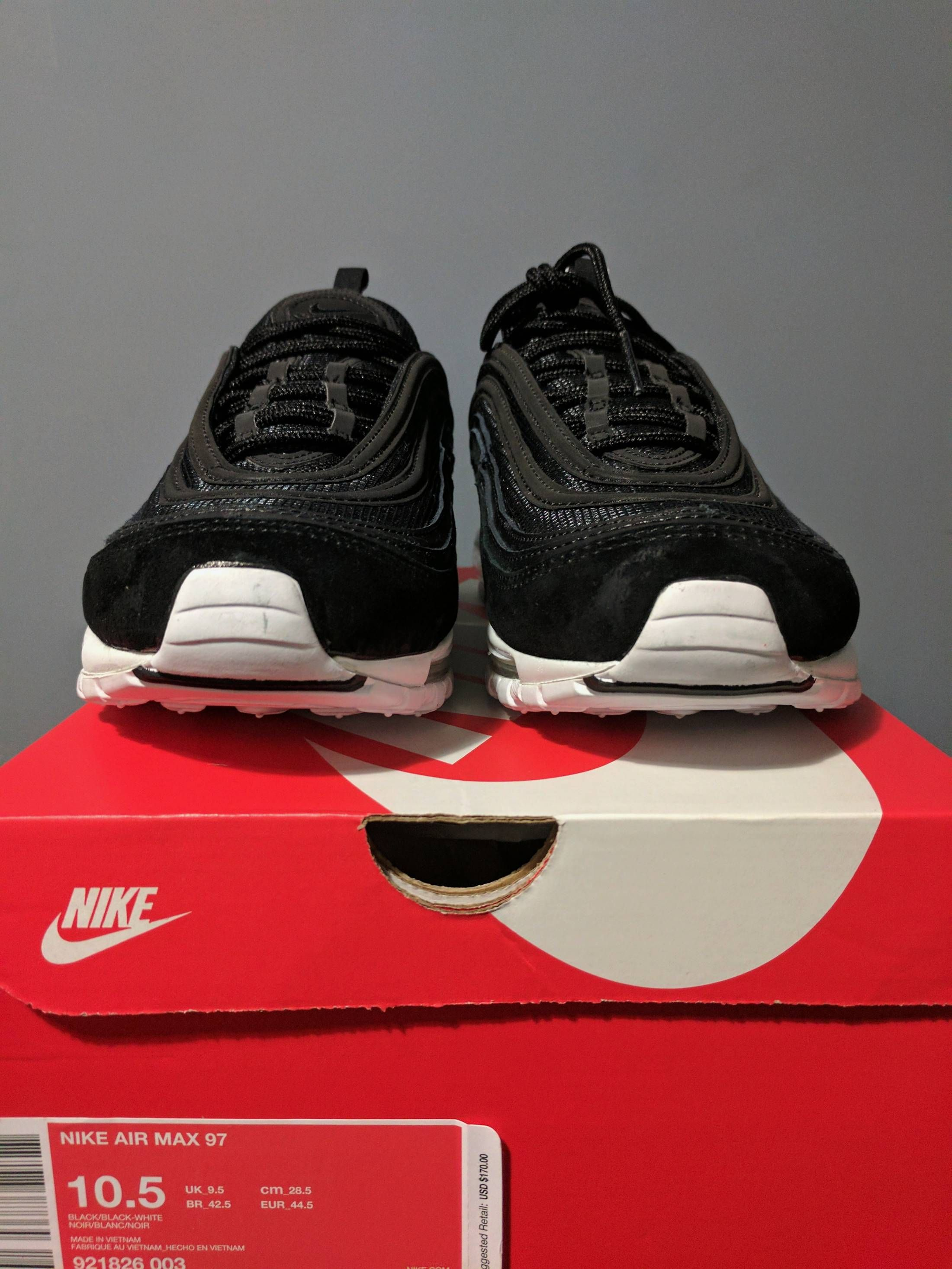 19951209b3 Nike Air Max 97 Premium Black White Size US 10.5 / EU 43-44 ...