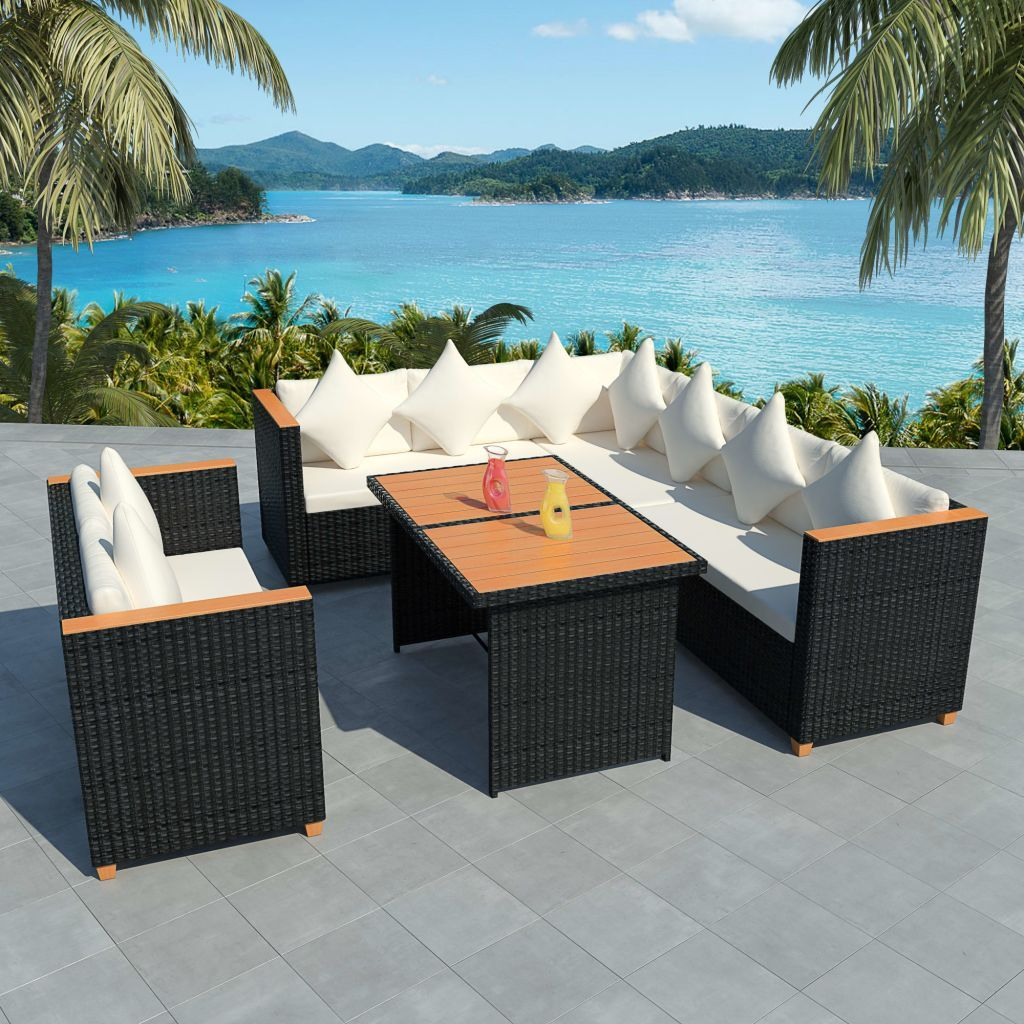 Outdoor XL Dining Set Corner Sofa Table Rattan Patio Garden ...