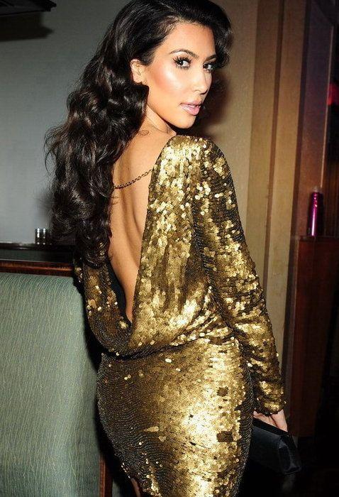 Kim gold sequined dress | Kardashian time | Pinterest