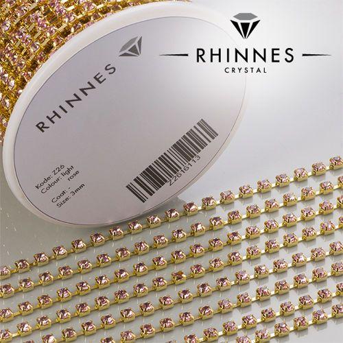 Świeże Taśma z kryształkami Light Rose w złotej oprawie 3 mm | dodatki do FV76