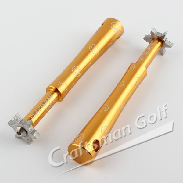 Smiling Face Series 6 Head U&V Golf Club Groove Sharpener For Iron & Wedge-Gold, designed by CRAFTSMAN GOLF.