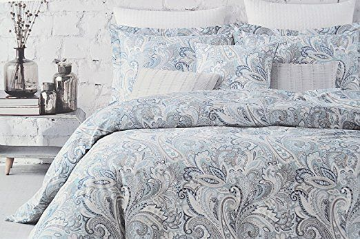 Envogue Bedding 3 Piece King Duvet Cover Set Paisley Medallion Pattern In Shades Of Blue Taupe Gray White King Duvet Cover Sets Duvet Cover Sets Duvet Covers