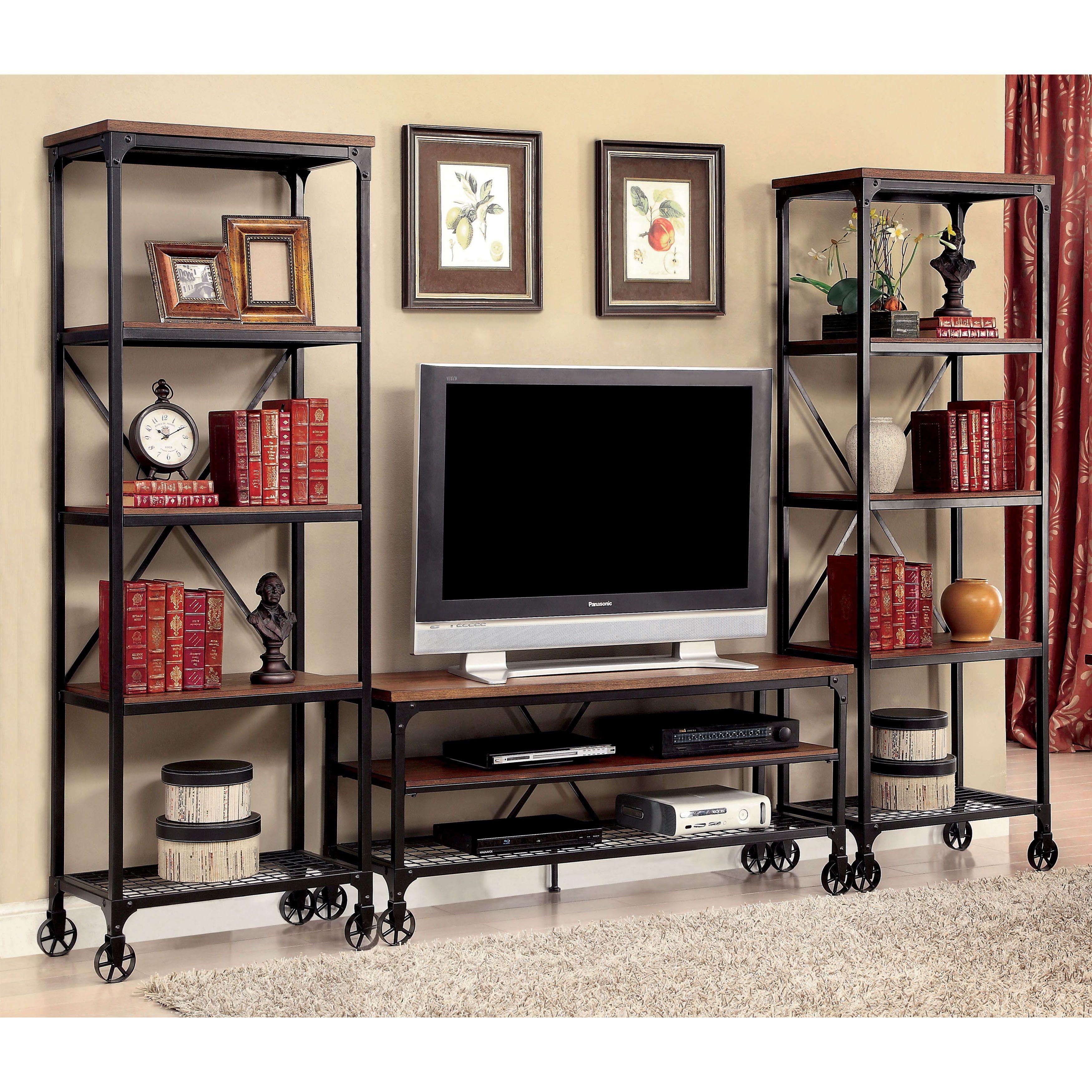 Furniture of america daimon industrial 3 piece medium oak 54 inch entertainment unit