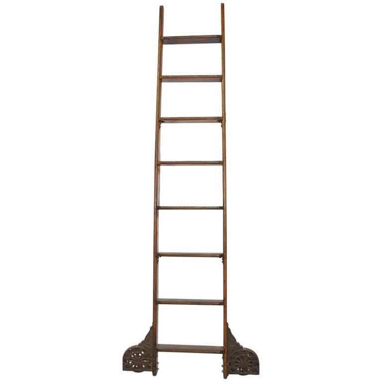 Antique Library Ladder By Coburn Trolley Track Mfg Co 1stdibs Com With Images Library Ladder Vintage Ladder Ladder
