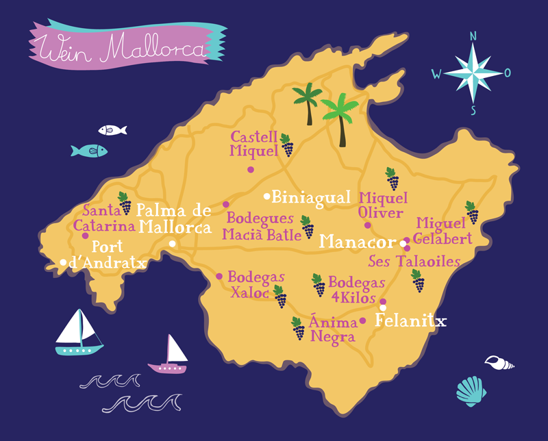 Illustrated wine map of Mallorca by Bianca Tschaikner Map Travel