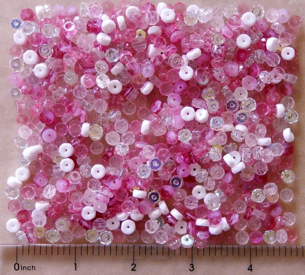600 Pink White Mix Preciosa Fire Polish Czech Glass Bulk Rondelle Disc Beads #PreciosaOrnela #FirePolished