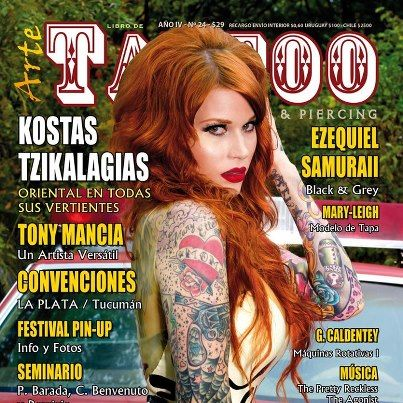 Mary-Leigh Maxwell....  Ont the cover of Tattoo Magazine