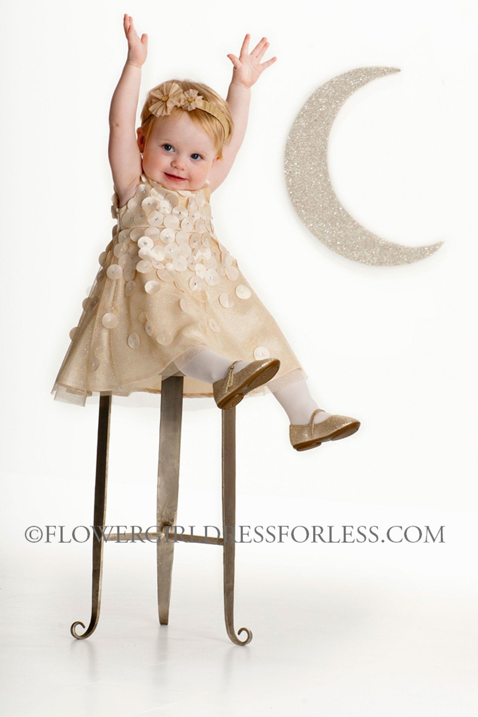 Biscotti designer girls dress style gold sleeveless glitter
