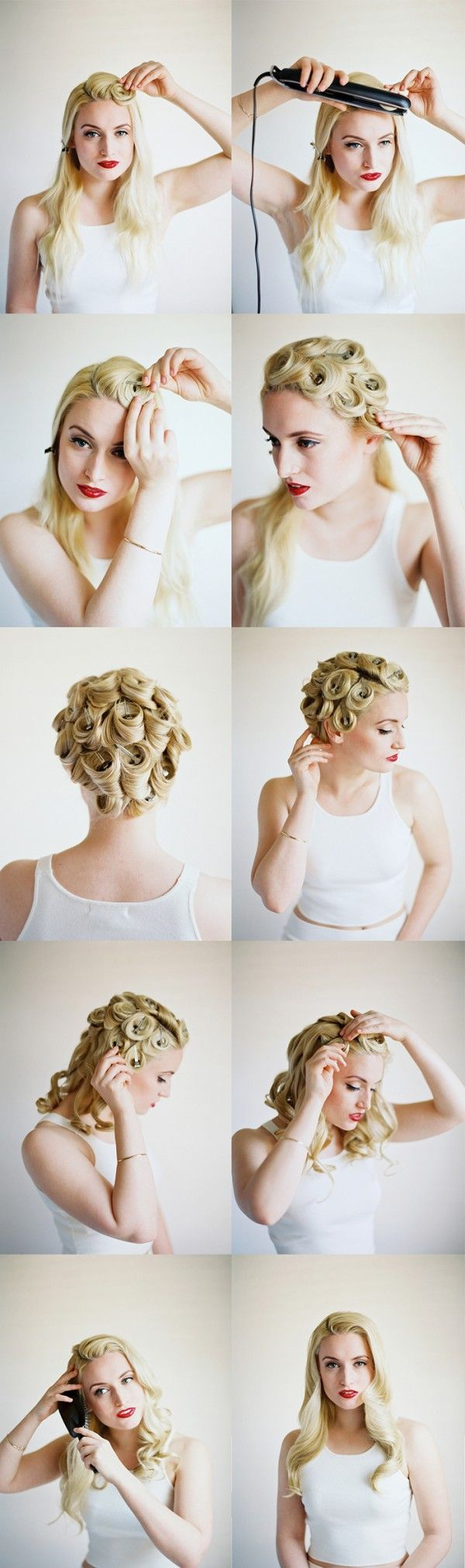 Diy modern pin curls tutorial once wed pin curls easy vintage