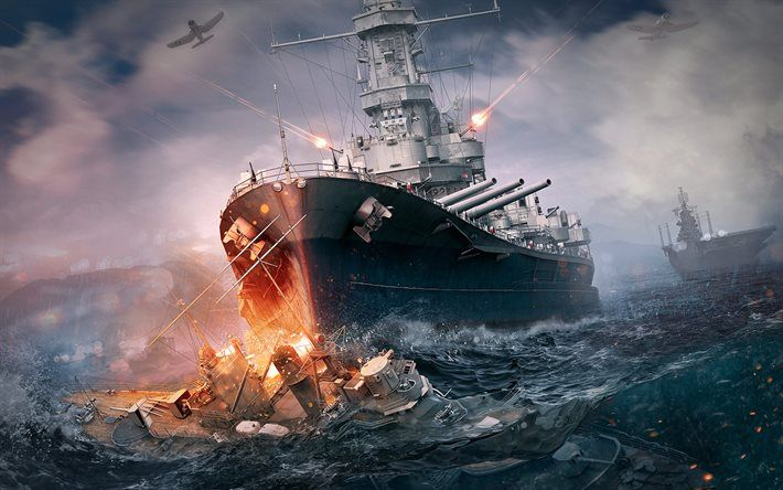 Download Wallpapers World Of Warships Ships War Second World War Battleship Nave