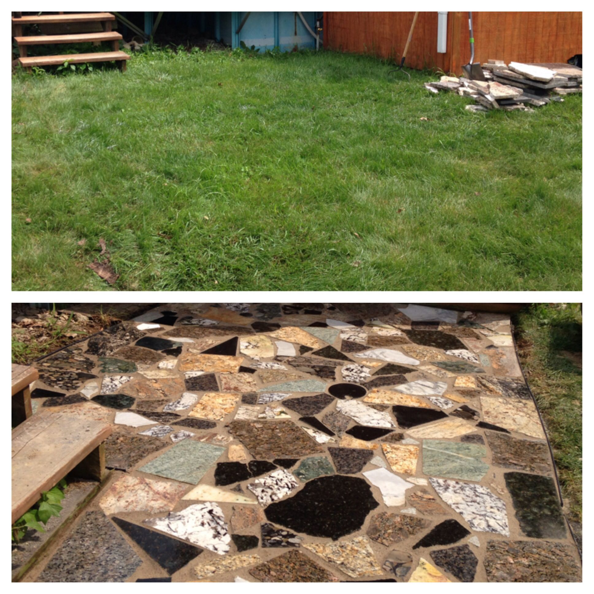 New patio with leftover pieces of marble and granite