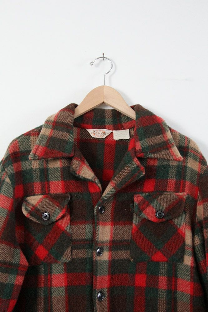 Vintage Plaid Shirt Jacket 70s Men S Wool Button Down Etsy Leather Jacket Men Mens Flannel Shirt Shirt Jacket