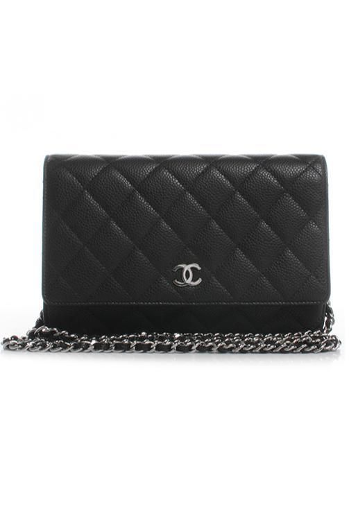 Chanel Black Caviar Chain Wallet