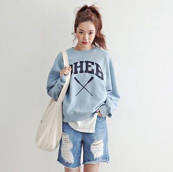 2016 Winter hoodie women korean harajuku kawaii sweatshirts cross DHEB letters printed long-sleeved fleece sweatshirt women