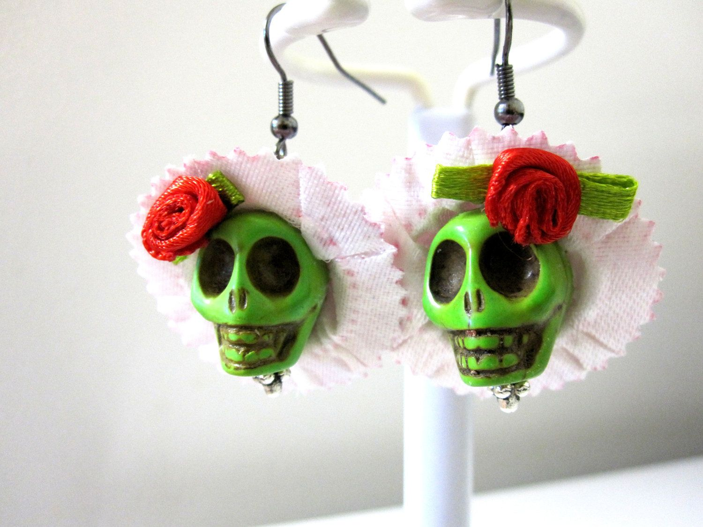 Handmade Skull Earrings with a Bow