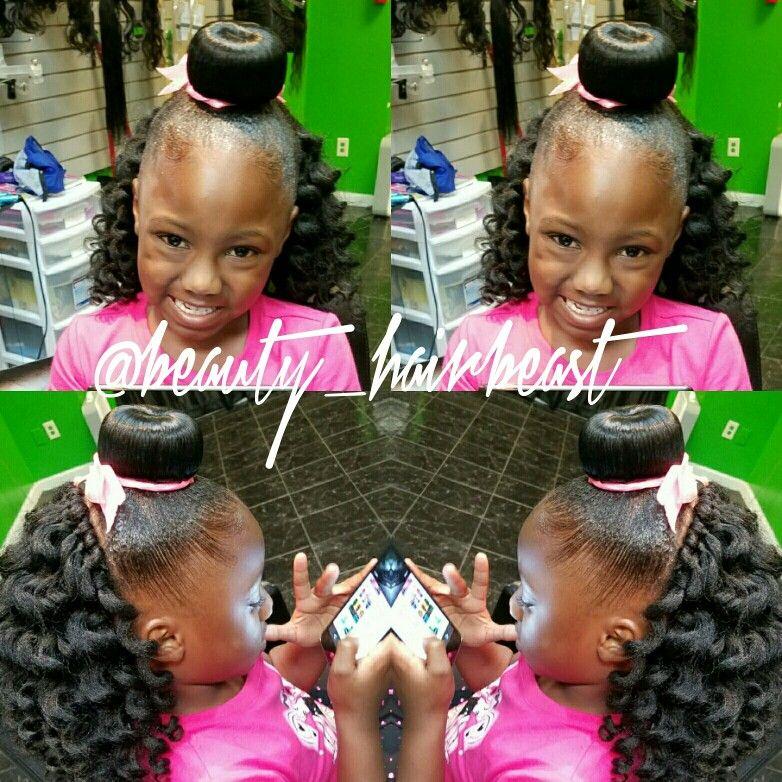 Bun Curly Hair Crotches Bows Kids Hairstyles Curly Hair Styles Girl Hairstyles