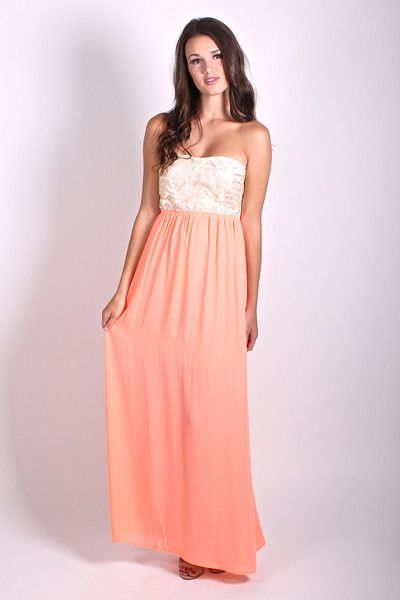 Maxi Dress in Neon Coral