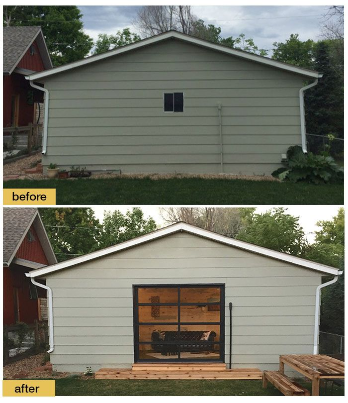 A Modern Clopay Avante Collection Glass Garage Door Opens Up This Garage To Be Used As A Guest H Craftsman Front Porches Garage Door Makeover Glass Garage Door