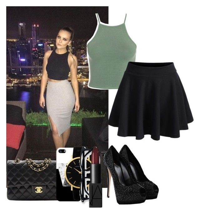 """""""dinner night with perrie"""" by happytwaimzlover ❤ liked on Polyvore featuring WithChic, Giuseppe Zanotti, Chanel, Casetify and NARS Cosmetics"""