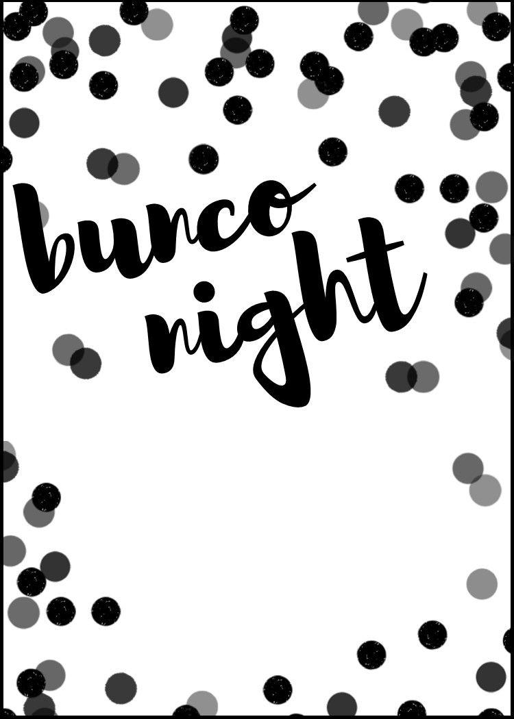 black and white bunco night free invitation template [ 750 x 1050 Pixel ]