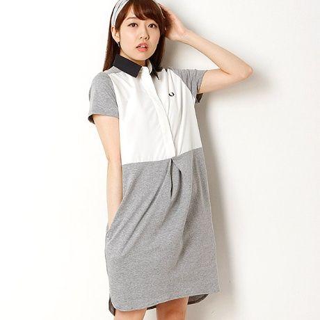 フレッドペリー(レディス)シャツ地とカットソー地のコンビドレスです。カットソー素材で着やすさを備えながら、前身頃のシャツ生地と衿できちんとしたイメージのある  ...