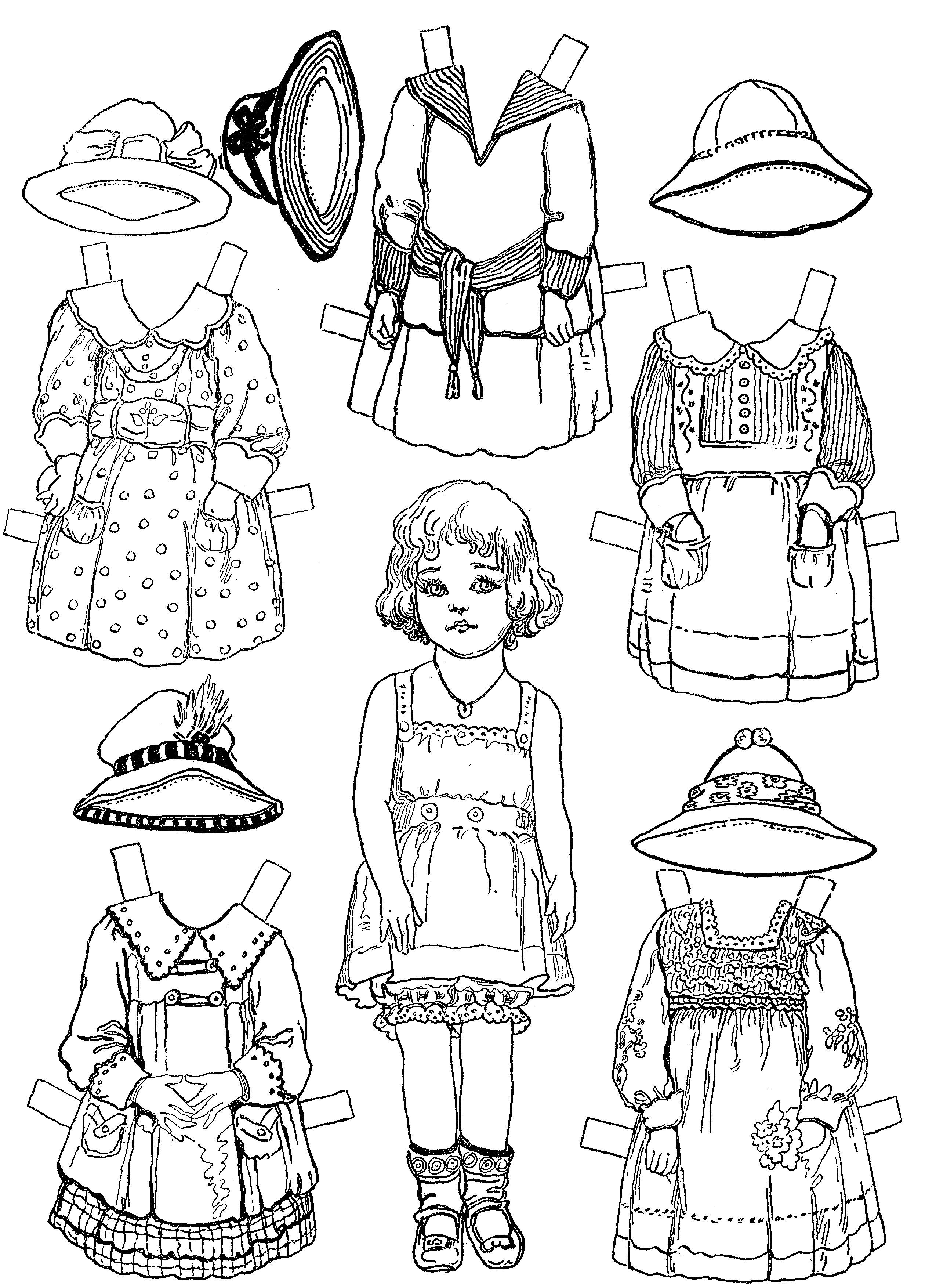 paper doll coloring pages mary many outfits for this paper doll open - Paper Doll Clothes Coloring Pages