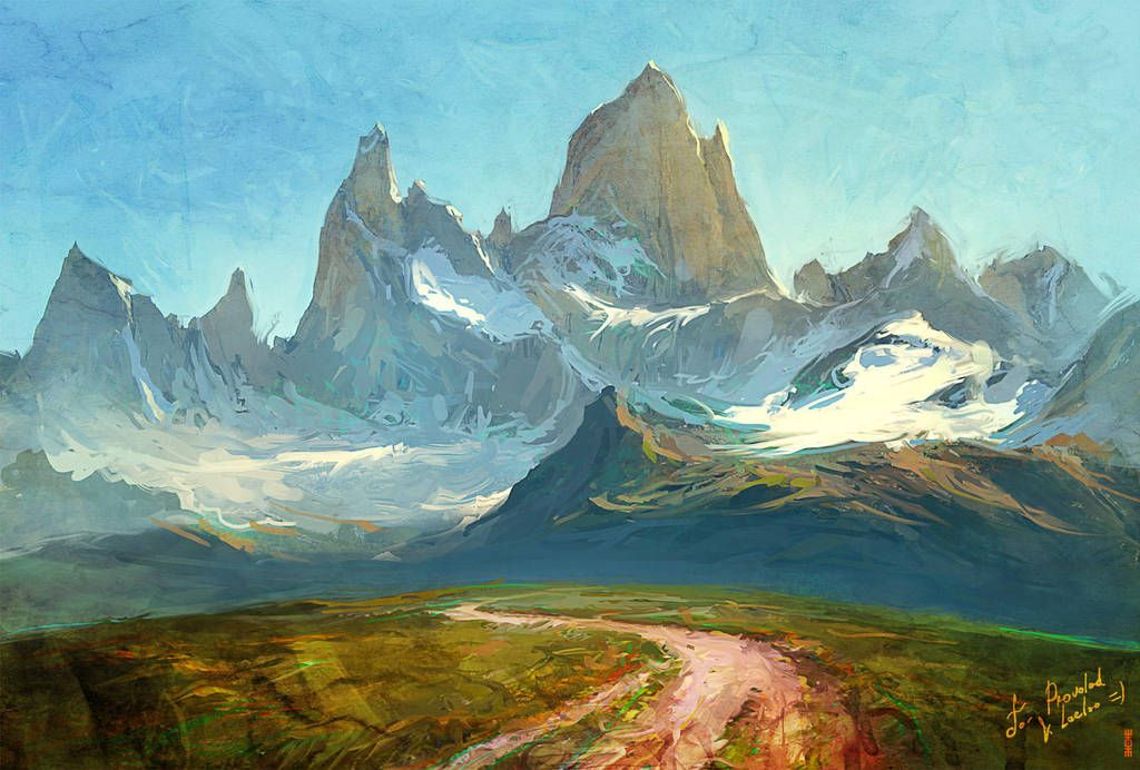 Fitzroy Mountain By Rhads Artwork Painting Art