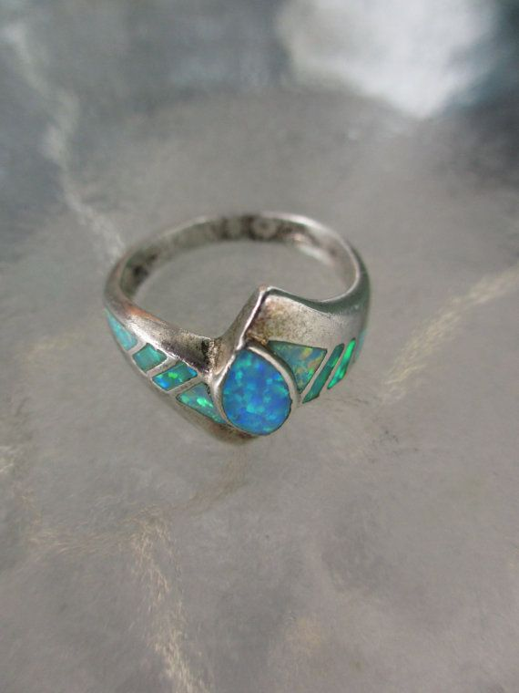 Vintage Glowing Blue Black Opal Ring 8 3/4 by PaisleyBabylon
