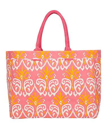 Another great find on #zulily! Pink & Orange Damask Bukhara Tote…