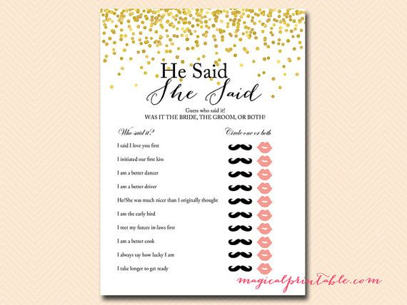 he said she said bridal shower game bridal shower movie love quote game gold confetti bridal shower bachelorette wedding shower bs46