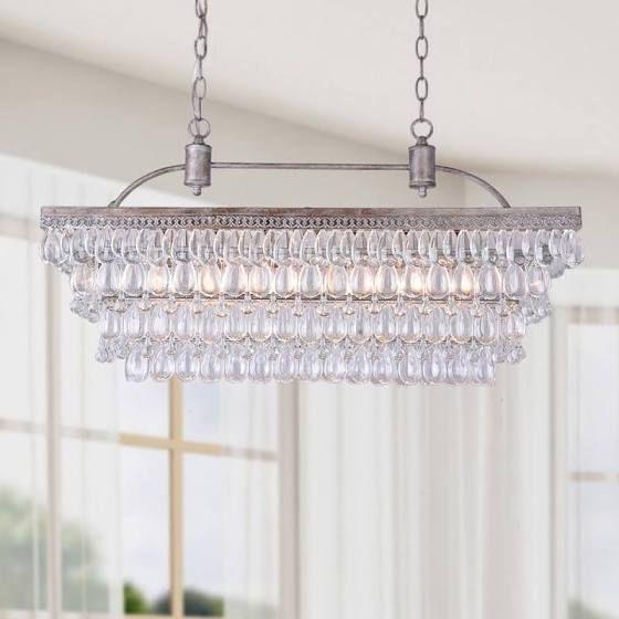 rectangle hanging chandelier rustic glam dining room pinterest hanging chandelier. Black Bedroom Furniture Sets. Home Design Ideas