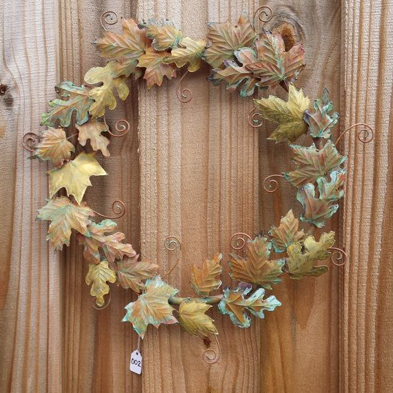 Copper and Brass Leaves Wreath by SouthPawMetalWorks on Etsy