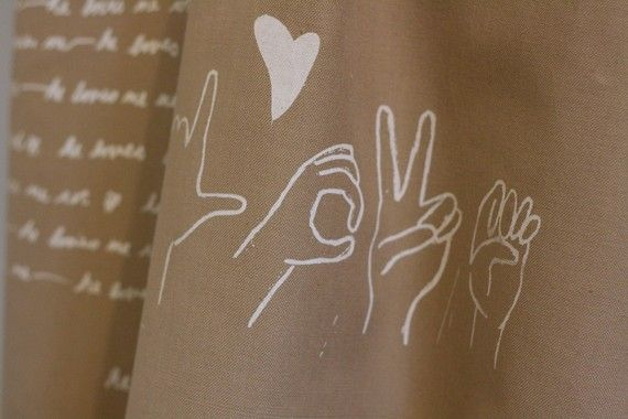Tea Towel Wheat LOVE in Sign Language by twiddleANDtweet on Etsy, $18.00