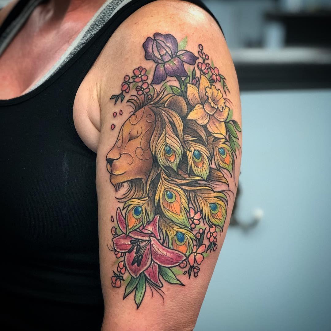 Leo Lion and Peacock Feathers Tattoo Tattoo Ideas and