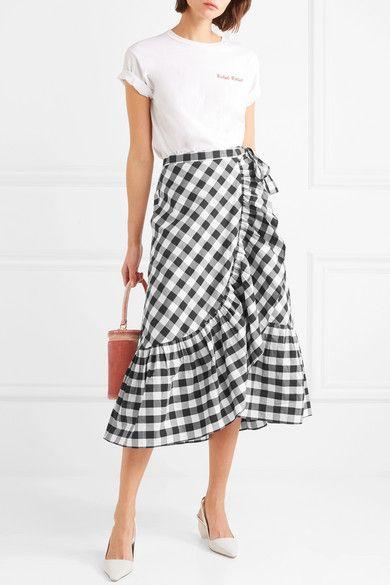 60e3029841bc J.Crew - Glo Ruffled Gingham Cotton-poplin Wrap Skirt - Black ...