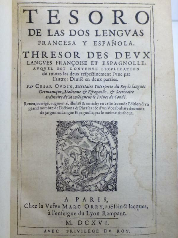 Details Sur Rare Cesar Oudin Seconde Edition 1616 Tresor