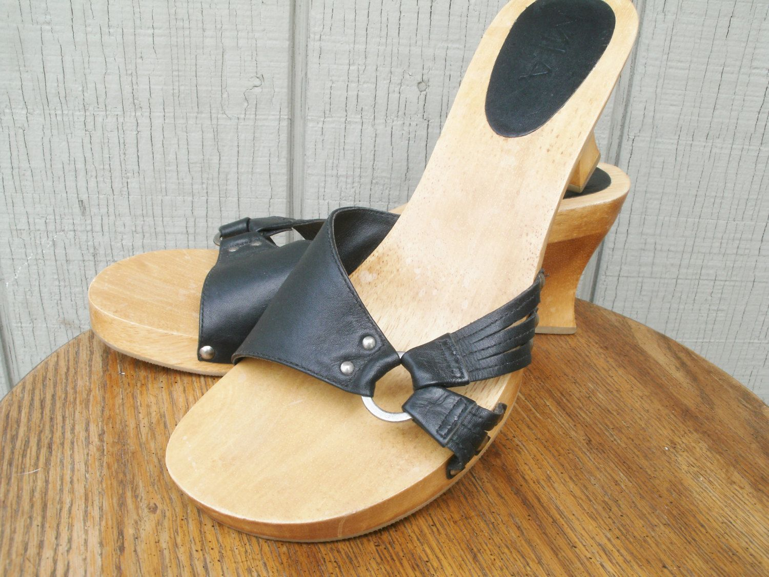 Black sandals size 11 - Vintage Women S Mia Black Leather Wooden Clogs Mules Slip On Heels Strappy Sandals Women S Size 11 Made In Brazil Shoes Excellent