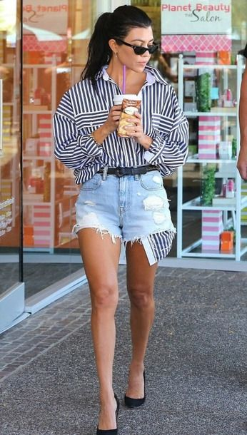 2ea5e2c0a8 shorts shirt stripes striped shirt pumps kourtney kardashian denim shorts  streetstyle