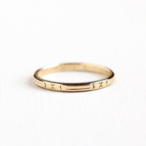 Vintage Art Deco 14k Yellow Gold Heart Ring Band 1940s Size 6