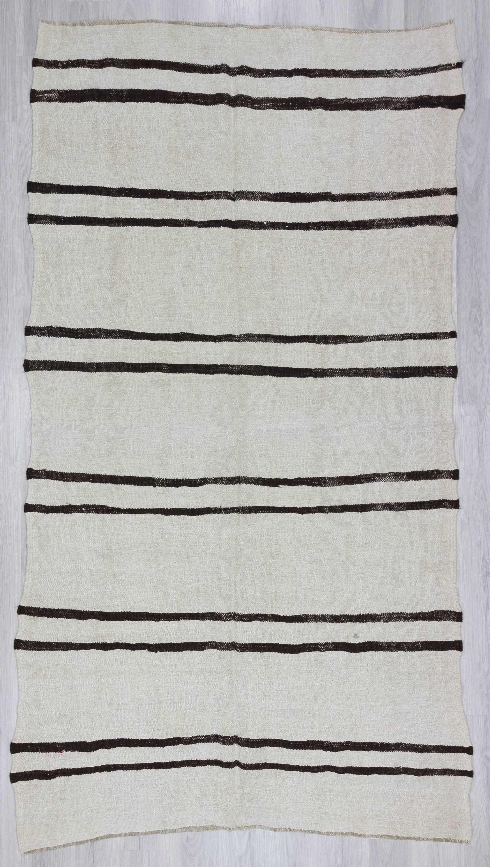 Black And White Striped Vintage Turkish Hemp Kilim Rug 1174 Category Kilims