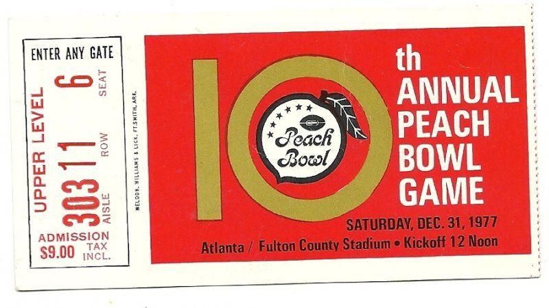 1977 peach bowl game ticket stub nc state iowa stateif