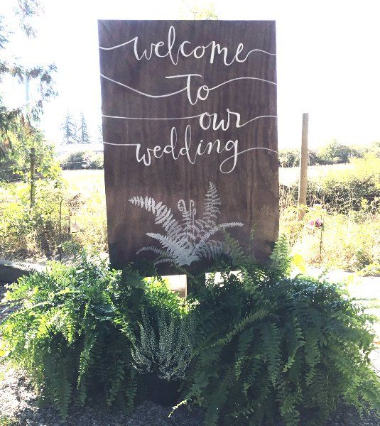 Welcome+To+Our+Wedding+Sign+Post: Wood+Sign+on+wood+post+and+X+base.++Really+nice+addition+to+the+your+ceremony+or+reception+site.++Sign+is+paint,+not+chalk,+and+will+not+rub+off.++