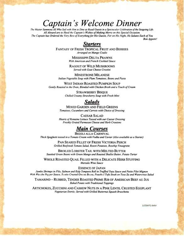 Carnival Cruises Captainu0027s Welcome Dinner Once in a Lifetime - dinner menu