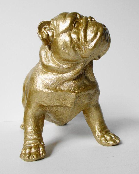bulldog  british bulldog  gold  bulldog ornament  english bulldog  gold bulldog  hodi home decor