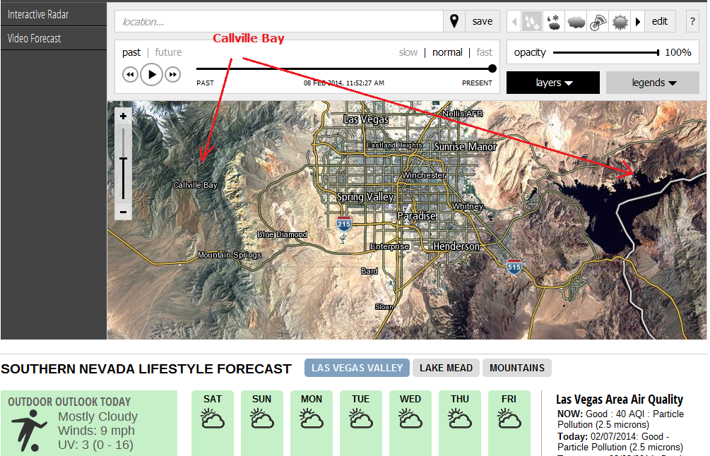 The other day I looked at the weather page at 8NewsNow.com, site for the southern Nevada CBS affiliate KLAS-TV. There I was surprised to learn that the community of Callville Bay has been moved from the receding shore of Lake Mead to the Spring Mountains near Mount Charleston, west of the Las Vegas valley. http://weather.8newsnow.com/