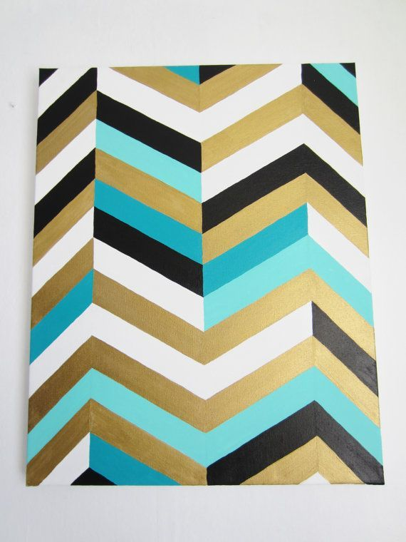 So Far This Is My Favorite Color Scheme For My Stuff I Like The Gold As A Brightener And The Patterns Make It Look C Chevron Art Painting Bathroom Gold Rooms